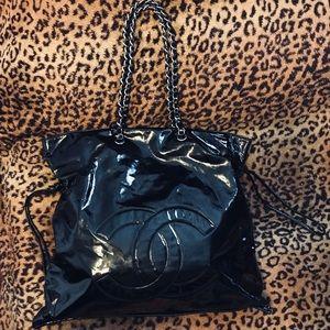 🖤 Chanel Black Jumbo Patent Bon Bons Shopper bag